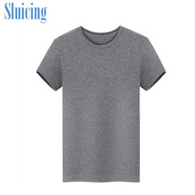 DEWBest Mens 100% Merino Wool Out door Crew T Shirts Lightweight Athletics Summer Breathable Wicking Cool Short Sleeve