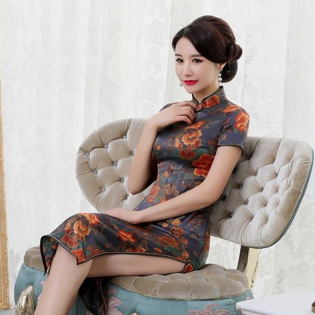 summer 2019 new high end silk cheongsam improved elegant long mulberry silk short sleeve cheongsam dress women Retro