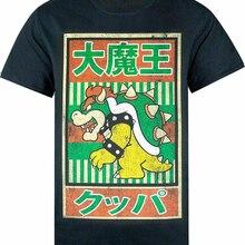 Super Mario Vintage Bowser cartel japonés para hombre Camiseta camiseta Cool Casual algodón