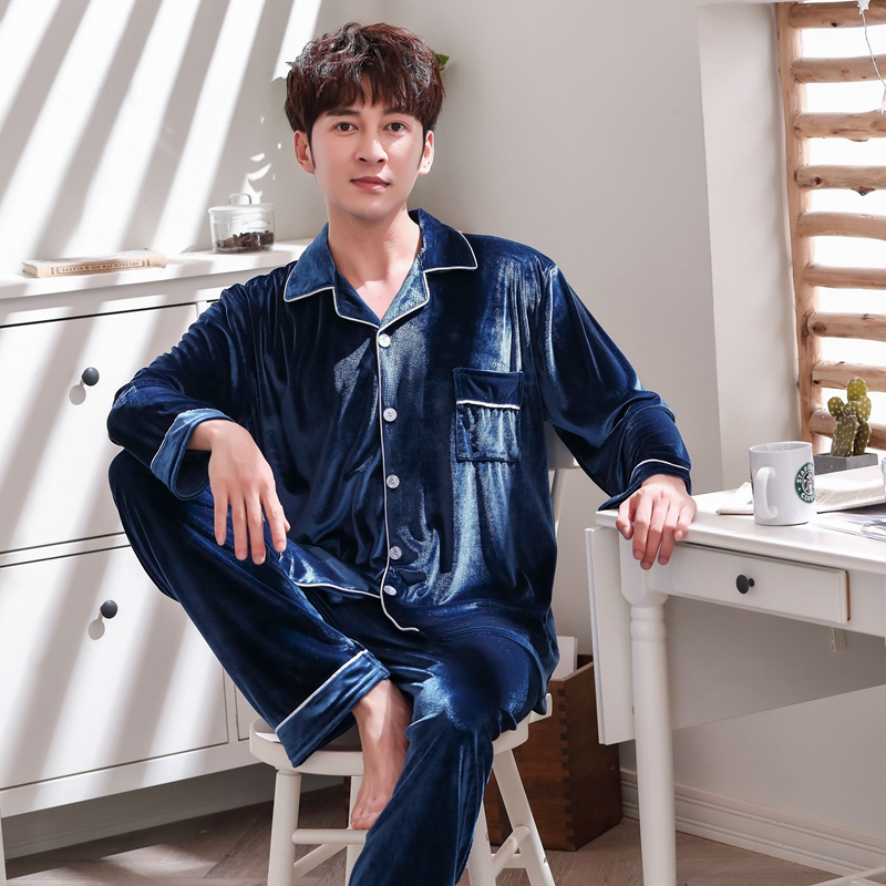 Fashion Man Autumn Winter Pajamas Set Sleepwear Mens Warm Thickening Pyjama Gold Velvet Top And Pants Pjs Long Sleeve Homewear