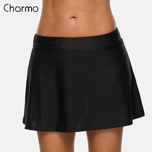 Charmo Women  Swim Trunks Solid Swimwear Briefs Swimming Bottom Tankini Bottoms Bikini Skirt Build-in Brief