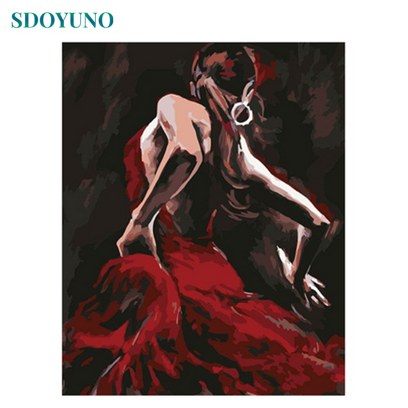 SDOYUNO 60x75cm Painting By Numbers For Adults Red Dancer Frameless Digital Paint Picture By Numbers On Canvas DIY Home Decor
