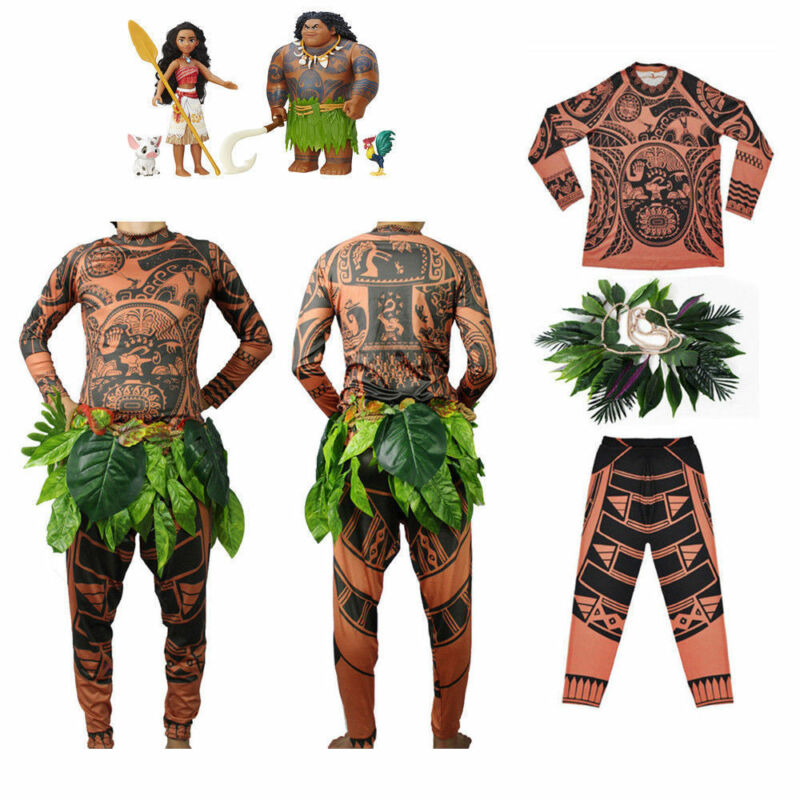 Goocheer Moana Maui Tattoo T Shirt/Pants Halloween Unisex Cosplay Costumes with Leaves Decor Blattern Sets