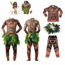 Goocheer Moana Maui Tattoo T Shirt/Pants Halloween Unisex Cosplay Costumes with Leaves Decor Blattern Sets