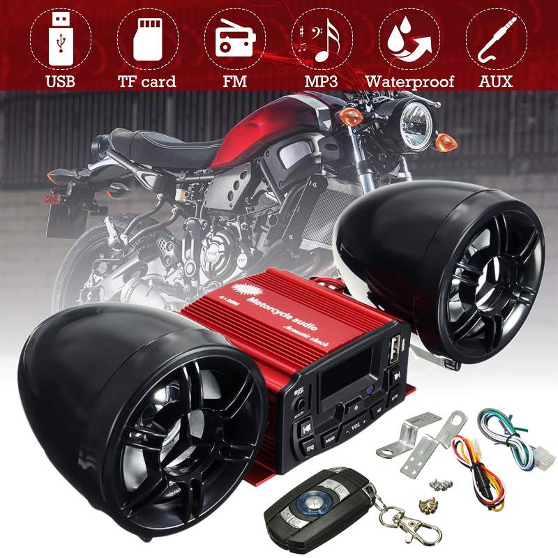 Motorcycle Handlebar TF USB Sound System 2 Speakers Waterproof FM Radio Audio MP3 Stereo Remote Control Speaker Suit 12V
