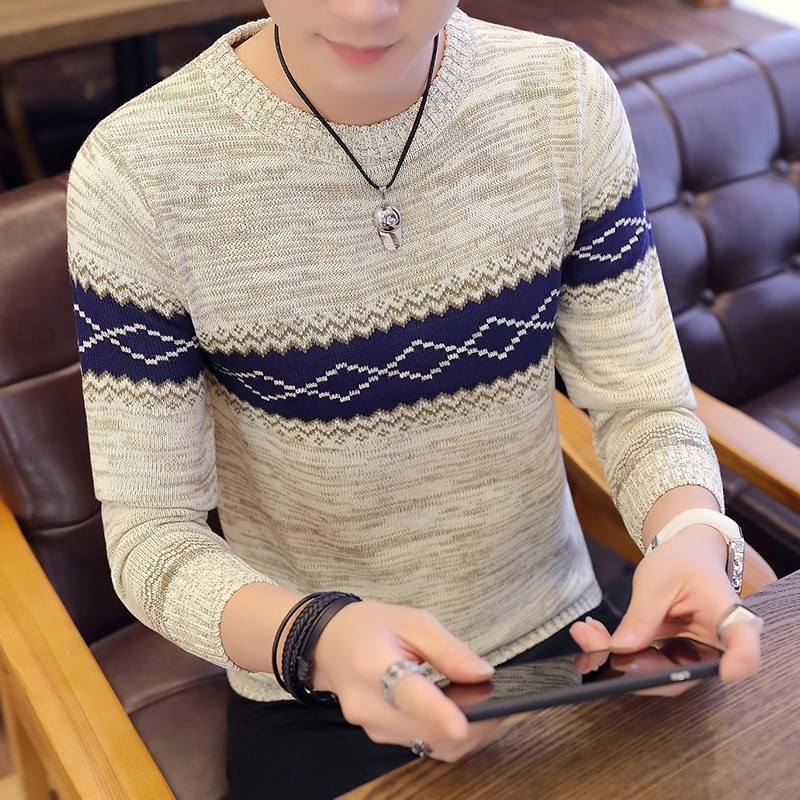 New Sweater Pullover Men's Long Sleeve Knit Sweater High Quality Casual Contrast Patchwork Pullover Men's Warm Slim Sweater 3XL