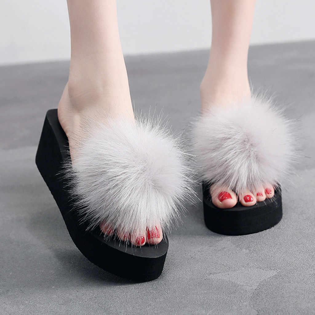 Nữ Lông Tơ Dép Giày Người Phụ Nữ Mùa Hè Nền Tảng Trong Nhà & Ngoài Trời Bãi Biển Dép Nữ Dép Đi Trong Nhà Zapatos De Mujer