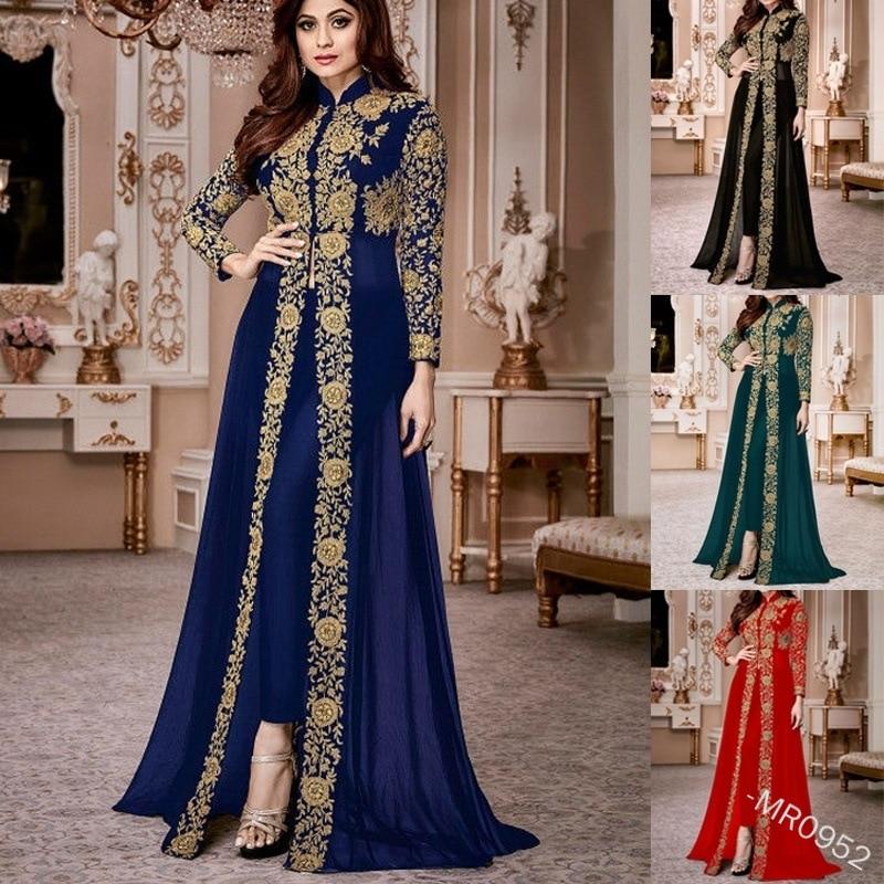 WEPBEL Women Elegant Muslim Abaya Long Dress Embroidery Vintage Kaftan Dress Islamic Maxi Dresses Without Hijab Plus Size S-5XL
