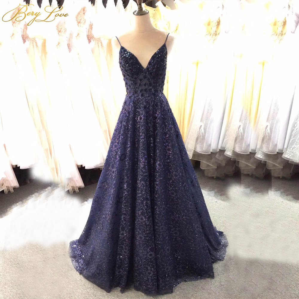 Berylove Sexy Navy Glitter Lace Evening Dress 2019 Shiny V Neck Elegant Evening Gown Long Formal Abiye Prom Party Dress Vestido