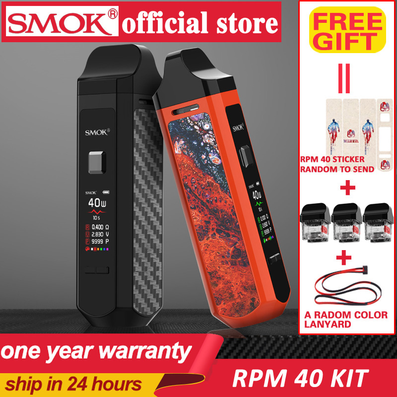 Smok Portable Pod Mod 40W Electronic Cigarette Kit SMOK RPM40 Pod Vape 1500mAh&4.3ml RPM Pod&4.5ml RPM Nord Cartridge POD Vapor