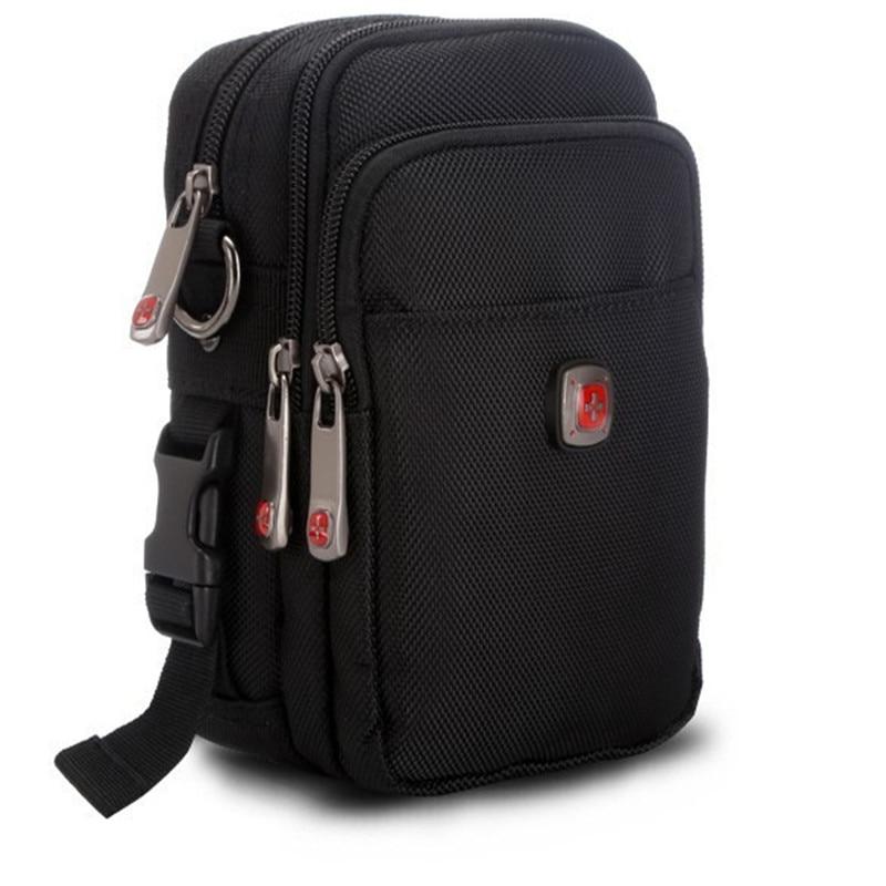 Swiss Waterproof Men Casual Waist Pack Bag Brand Canvas Shoulder Fanny Packs Women Belt Bag Pouch For Money Phone Black Bum Bag