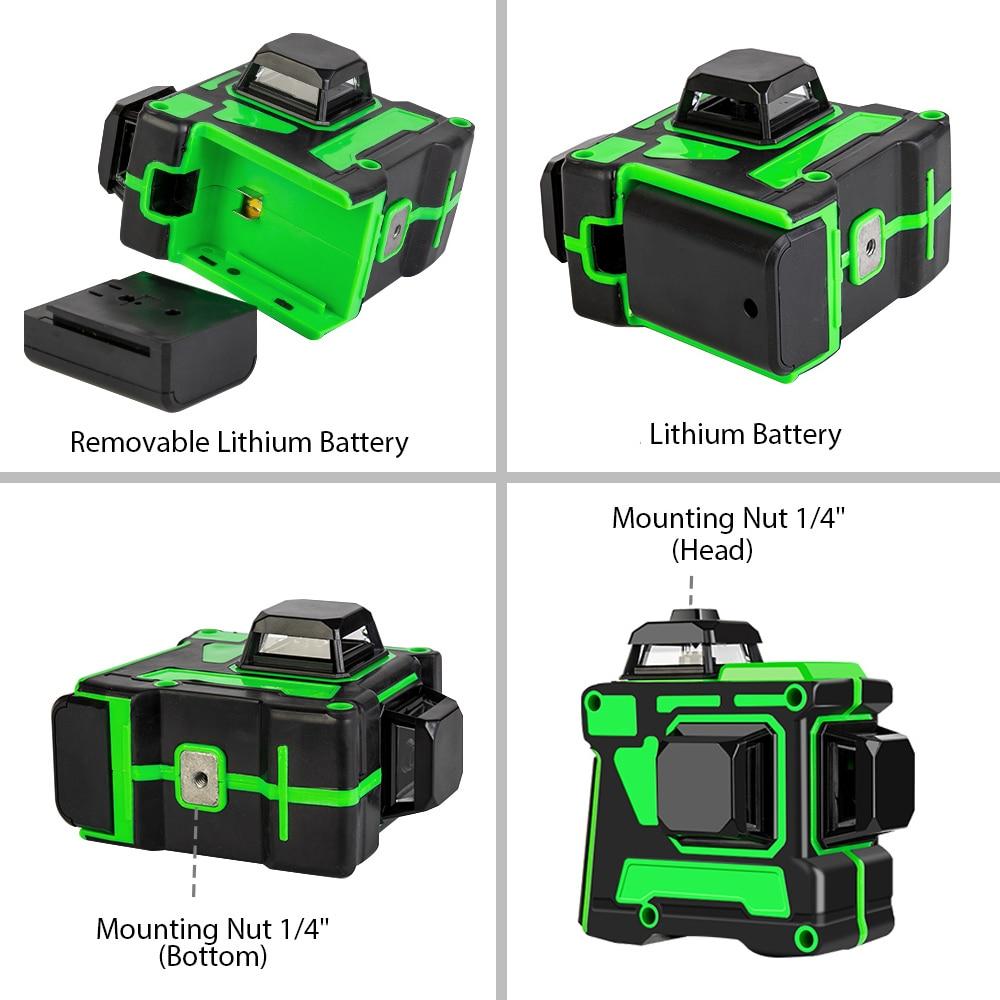 12 линий 3D зеленый лазерный уровень самонивелирующийся 360 градусов Горизонтальные и вертикальные поперечные линии Зеленая лазерная линия с батареей штатива