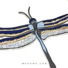 2 pçs cor azul lantejoulas dragonfly adesivos remendos roupas diy applique para decoração de roupas ferro em remendos para sacos sapatos