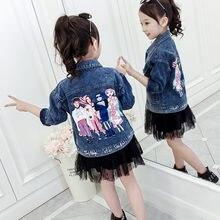 купить Spring Autumn Girls Jackets Children Kids Coats With Cartoon Retro Vintage Kids Destroyed Denim Jacket Wholesale Girls Clothing по цене 1007.58 рублей