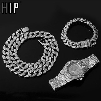 Necklace +Watch+Bracelet Hip Hop Miami Curb Cuban Chain Gold Iced Out Paved Rhinestones CZ Bling Rapper For Men Jewelry