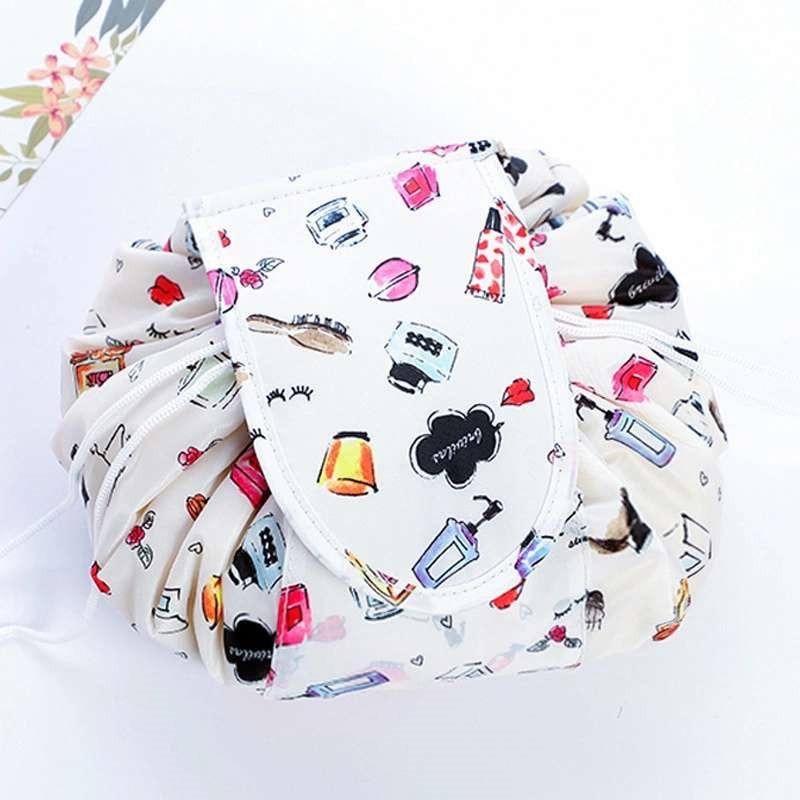 Ленивый человек сумка для хранения Печать Drawstring макияж Органайзер портативная дорожная Косметика женская сумка Rolling круглый пылезащитный ...