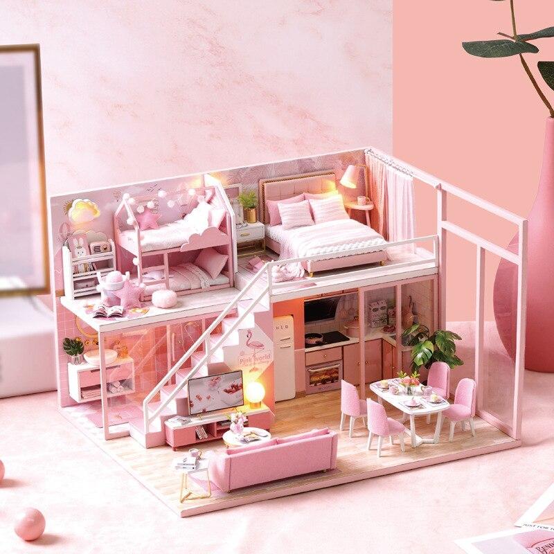 Flamingo Loft maison de poupée Miniature chambre meubles de cuisine LED lumières Kit assemblage 3D en bois Puzzle maisons de poupée bricolage jouet cadeau