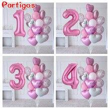 15 шт./лот платье для девочек на день рождения воздушные шары с 30 дюймовый розовый номер шт/уп, 3/3rd на день рождения вечерние Декор детей ...