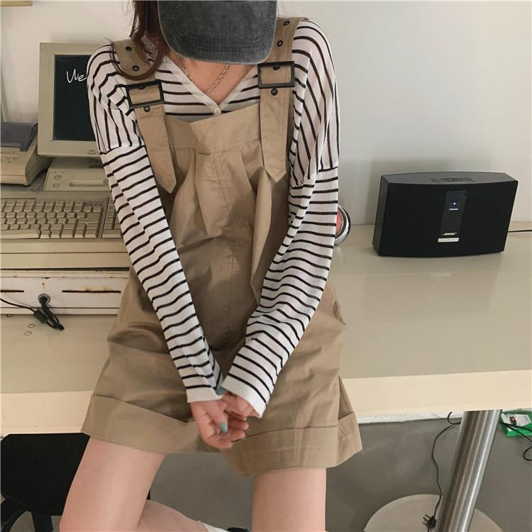 Haf030a9a2b9648adab487eba106f5f92q - Summer Loose Fitting Wide Leg Solid Overall Shorts
