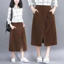 Autumn literary large size skirt loose slim skirts womens solid color corduroy midi elastic waist