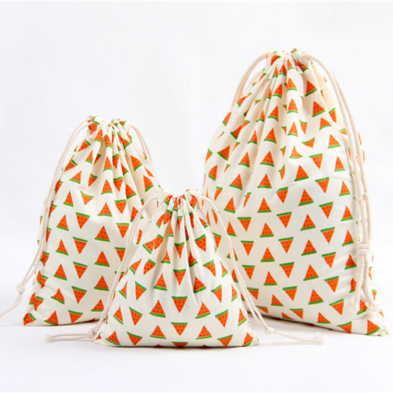 3 Size Fruit Design Printed Drawstring Bag Pocket Storage Pouch Watermelon Pattern Backpack Women Cotton Fabric Bags