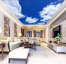 все цены на simple blue sky white clouds ceiling mural Living Room Bedroom Ceiling Background Wallpaper 3D Mural онлайн