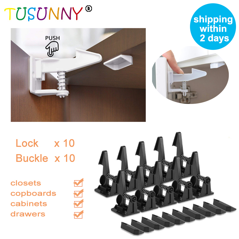 TUSUNNY 10/20 Pcs Child Protection Baby Security Cabinet Door Lock For Kids Safety Baby Lock  Drawer  Lock Invisible Child Locks