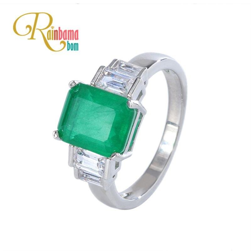 Rainbamabom 925 Sterling Silver Created Moissanite Emerald Gemstone Birthstone Wedding Engagement Ring Fine Jewelry Wholesale
