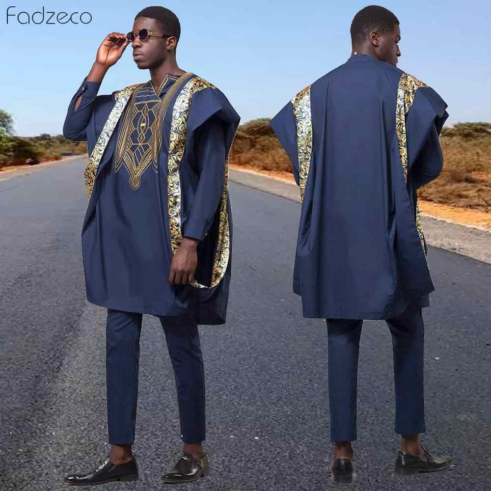 Fadzeco hombres africanos Dashiki trajes Top camisa pantalón conjunto 3 piezas conjunto bordado azul marino africano ropa para hombre de gran tamaño