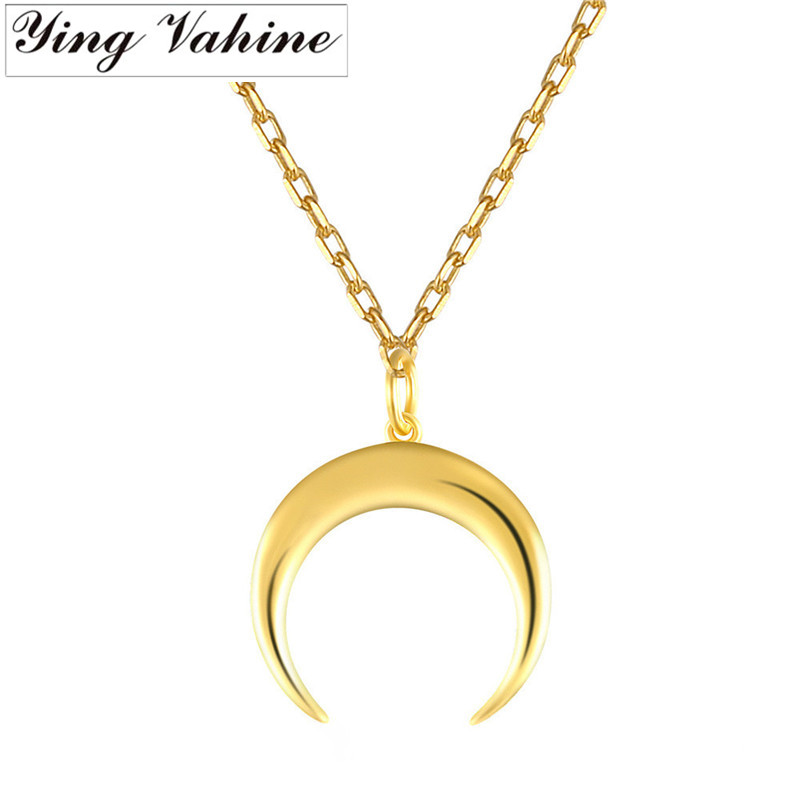 Ying Vahine 100% 925 Sterling Silver Moon Pendant Necklaces For Women