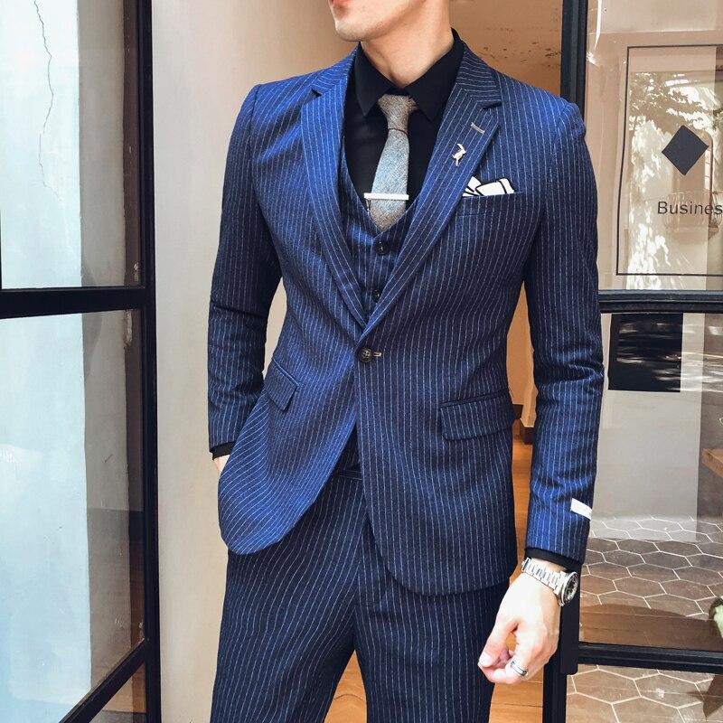 Men Tuxedo Suit 2020 Spring Grooms Suit Stripe Wedding Suit Luxury Slim Fit Smoking Uomo Smoking Homme Mariage Ternos Masculino