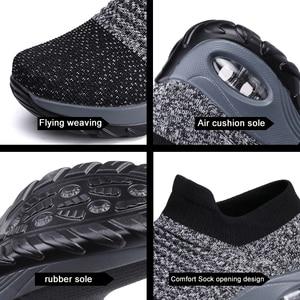 Image 3 - EOFK 2020 אופנה נשים פלטפורמת נעלי אישה גברת דירות בלט מקרית נעלי ארוג גרב נעלי נוחות להחליק על שחור עגול הבוהן