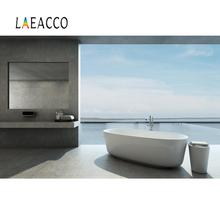 Laeacco Modern Bathroom View House Tropical Scenic Photo Backgrounds Digital Photography Backdrops For Photo Studio