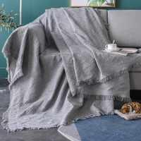 Mantas de colores sólidos de cuatro estaciones europeas, borla de punto de verano, manta de sofá para individual, dos personas, funda de sofá