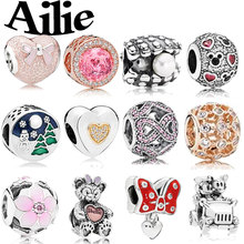 Ailie fit original Pandora charm bracelet personality simple high quality fashion jewelry lady 925 sterling silver DIY beads
