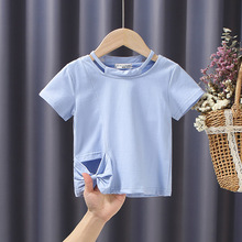 2-6 Years Children Girl T-shirt Summer Cotton Fashion Solid Short Sleeve Bowknot Hollow Kids Girl Tops Clothes