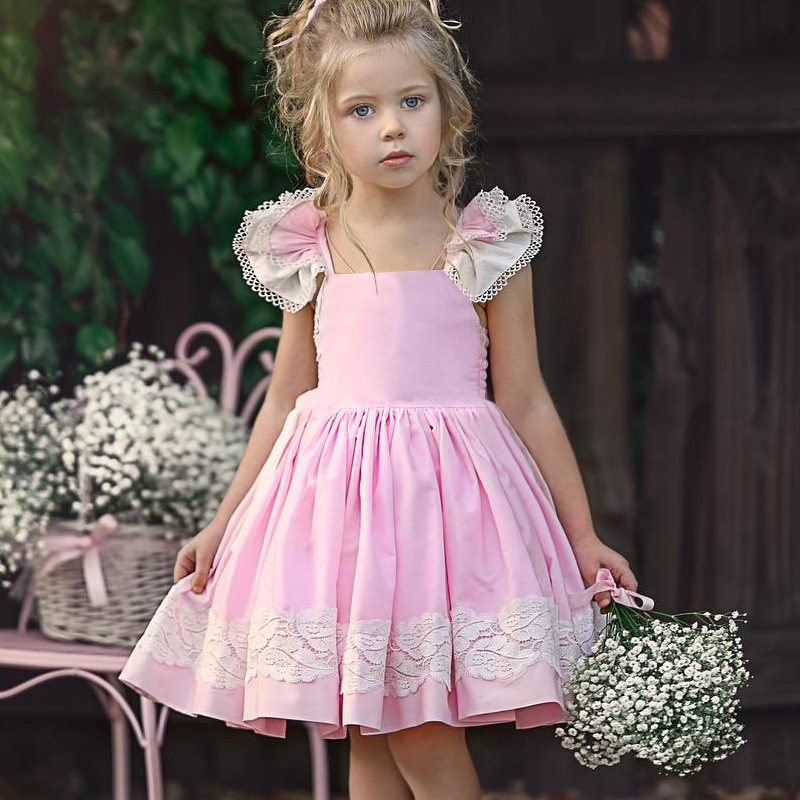 EACHIN Girls Dresses Lace Embroidered Printed Patchwork Dress Princess Dress Children Summer Casual Clothes Baby Girls Sundress