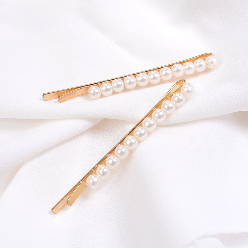 2PC Pearl Metal Hairclips Women Hair Clip Hairpin Girls Hairpins Barrette Hairgrip Bobby Pin Hair Accessories