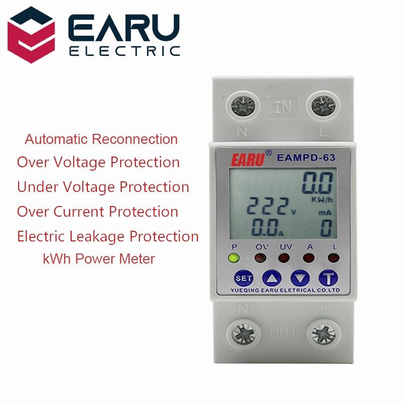 63a 230v display ajustável proteção contra vazamento de terra atual sobre sob tensão protetor relé dispositivo energia kwh medidor|Medidores de energia|   -