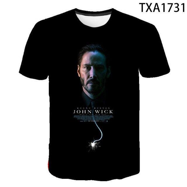 2020 New Summer Movie John Wick  3D T shirt Men Women Children Fashion Streetwear Boy Girl Kids Printed T-shirt Cool Tops Tee 2
