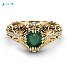 JESSIC New Green Stone Rings For Women Gold Color Hollow Out Vintage Rings Fashion Jewelry vintage solid color hollow out necklace for women