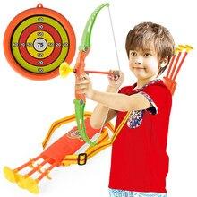 2020 crianças tiro esportes ao ar livre brinquedo arco seta conjunto brinquedos de plástico para crianças ao ar livre engraçado brinquedos com otário presentes conjunto crianças brinquedo