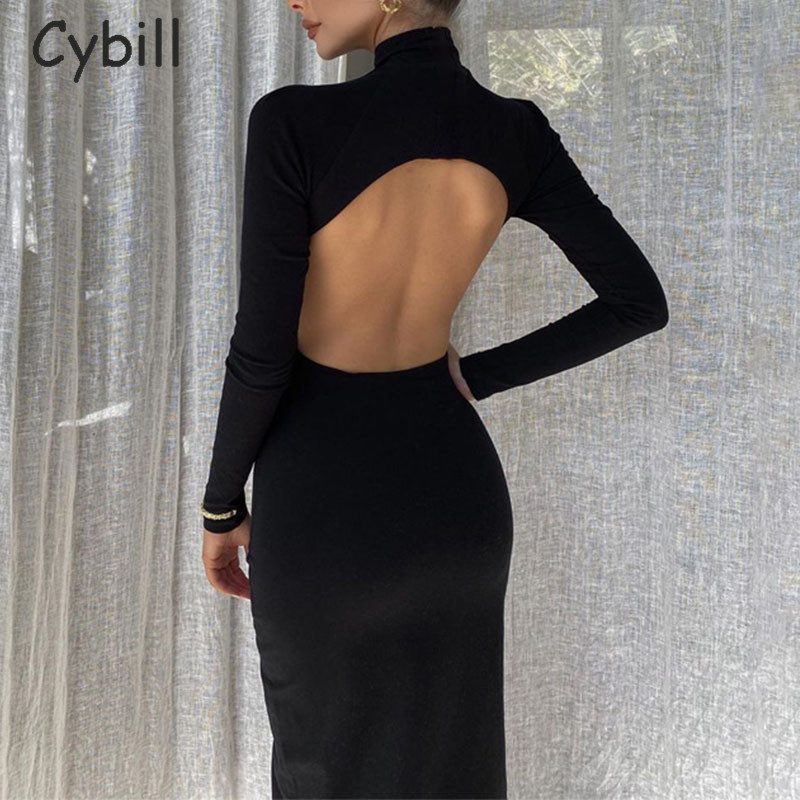 Cybill Long Sleeve Backless Midi Dress Black Hollow Out Turtleneck Bodycon Dress White Club Sexy Party Dresses Blue Women(China)