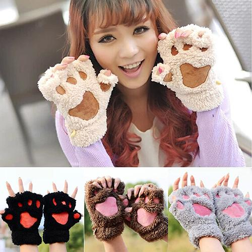 2019 New Women's Bear Paw Fluffy Plush Glove Winter Half Covered Soft Toweling Mittens