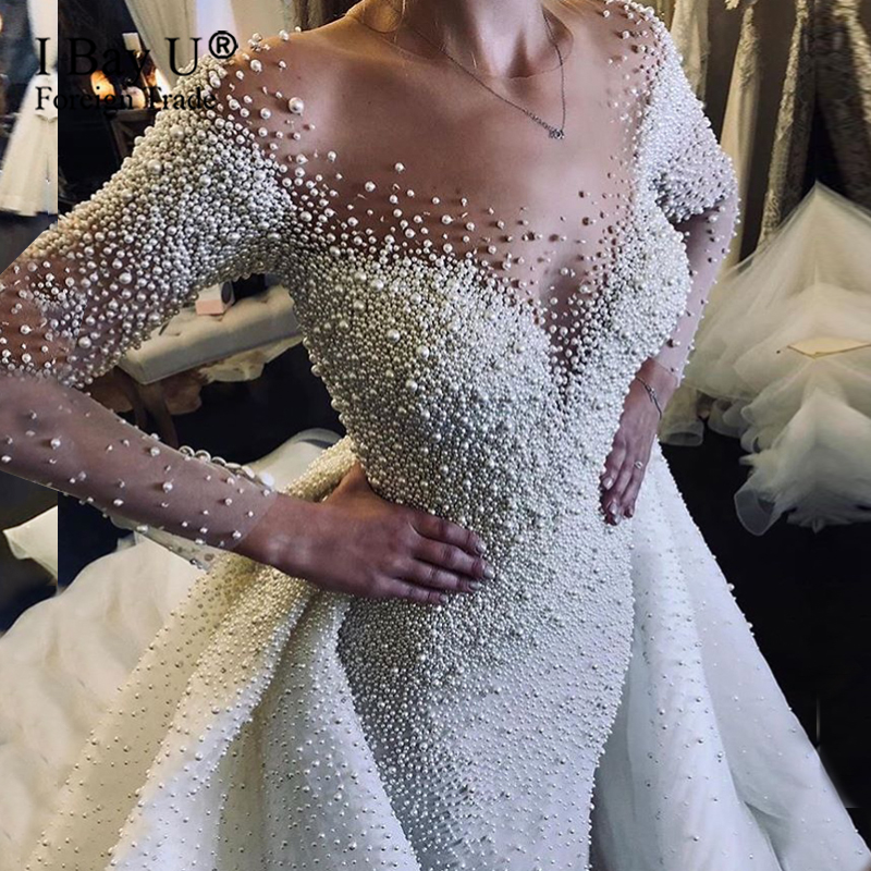 Long Luxury Full Shell Pearl Beaded Mermaid Wedding Dress Sexy Bridal Removable Train Sheer Wedding Gowns 2020 Robe De Marriage