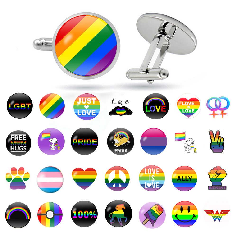 LGBT Pride Colorful Rainbow Flag Shirt Cufflinks LGBT Flag for Lesbian Crystal Glass Cabochon Wedding Cufflinks Gay Men Jewelry