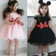 Girl Dress Gauze Princess Summer Girls Dress Minnie Wave Point Children Clothing Dress for Girls Birthday Party Dress Ball Gown(China)