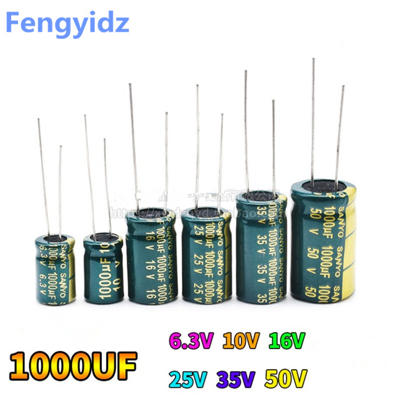 20pcs 10V <font><b>16V</b></font> 25V 35V 50V <font><b>Low</b></font> <font><b>ESR</b></font> high frequency aluminum capacitor <font><b>1000UF</b></font> image