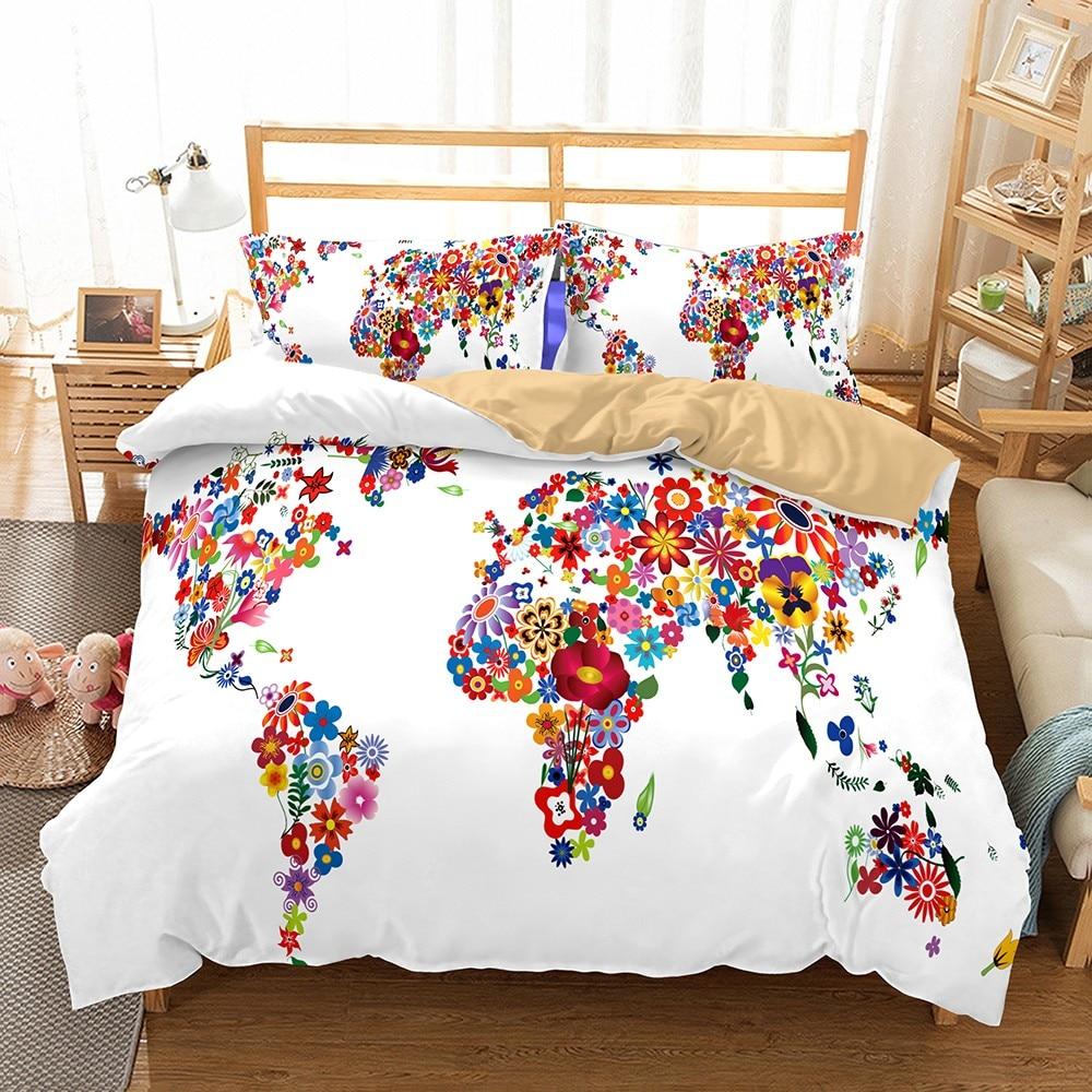 Best Price #3b7bd - Colorful Duvet Set Creative Floral World ...