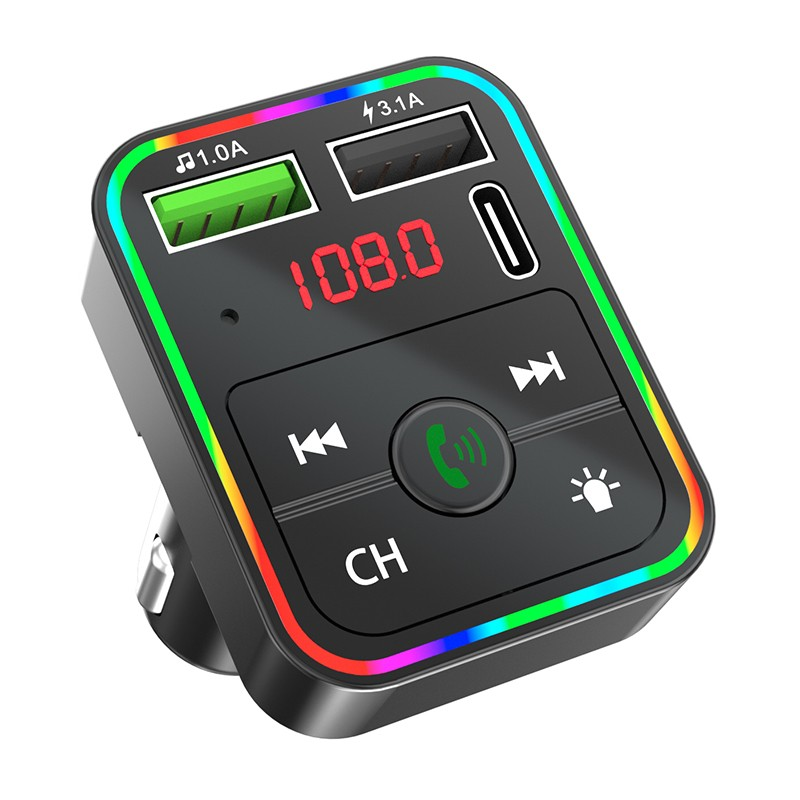 Handsfree Car Bluetooth 5.0 MP3 Player Wireless Aux Audio Receiver FM Modulator Dual USB 3.1A +PD Charger Car Kit FM Transmitter